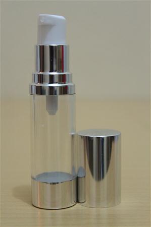 Botol Pump Impor 15 ML Tutup Silver Body Bening | AIRLESS BOTTLE Tutup Terbuka