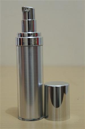 Botol Pump Impor 35 ML Silver | AIRLESS BOTTLE Tutup Terbuka